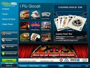 La lobby di William Hill Casino AAMS