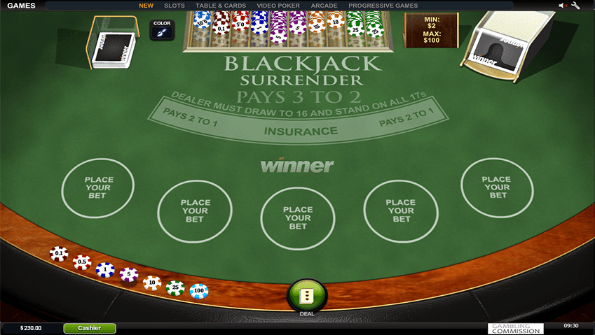 tavolo blackjack surrender