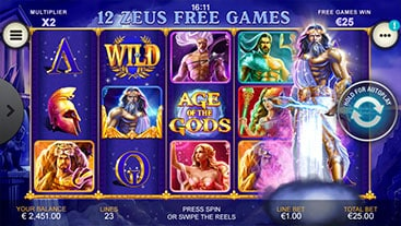 age of the gods zeus free spin